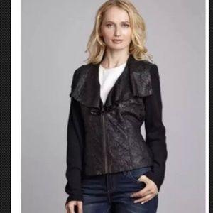 NWT XCVI Play Bill Black Leather Jacket Size L